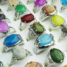 8pcs Mix 100% Natural Stones White Gold P Fashion Rings Whoesale Jewelry Lots