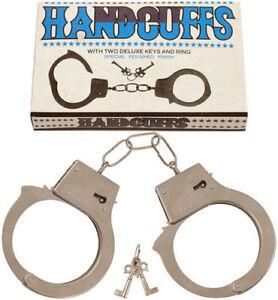METAL HANDCUFFS LOVE CUFFS FANCY DRESS POLICEMAN POLICEWOMAN COSTUME HEN STAG