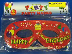 Happy Birthday Carnival Party Favor Masquerade Paper Eye Masks - Red Yellow Cake