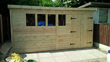 GARDEN SHED SUPER HEAVY DUTY TANALISED 16X8 PENT 19MM T&G. 3X2.