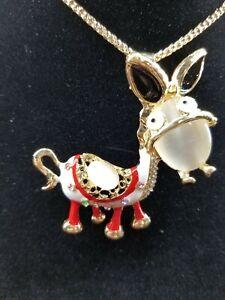 Betsey Johnson Red Enamel & Crystal Rhinestone Inlay Donkey Pendant Necklace