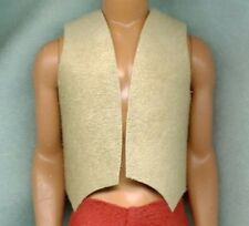 Ken Doll Clothes - Cream Suede Cowboy Or Biker Vest - Genuine Leather