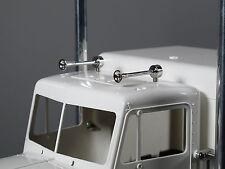 Pair Chrome Brass Air Horns for Tamiya 1/14 Semi King Knight Hauler Globe liner
