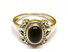 Handmade 925 Sterling Silver Ring with Real Black Onyx Stone (7 x 5 mm) Size N