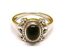 Hecho a mano plata esterlina 925 Anillo con piedra de ónice negro real (7 X 5 MM) Talla N