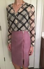 J. Crew Pink Mauve Zipper Lined 100% Wool Pencil Skirt 0 2 P Petite XS $118