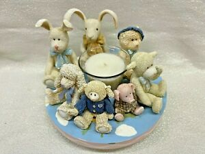 Circle Of Friends Votive Candle Holder Baby Animals Blue Wong's Int. NEW (G43)