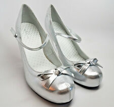 SILVER Heels Pumps Size 10 Chrome Mary Jane Pin-Up Sexy Mirror Bow Glam Wedding