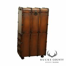 Leather Bound English Steamer Trunk Style Abattant Fall Front Desk