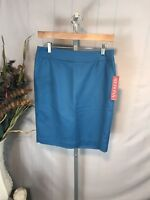 "NWT Merona Teal Straight Pencil Skirt Size 2 Stretch 20"" Free US Shipping (AQ)"