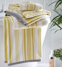 Regency Yellow Ochre Grey Hand Towel 100% Cotton Striped Towel Luxury Super Soft
