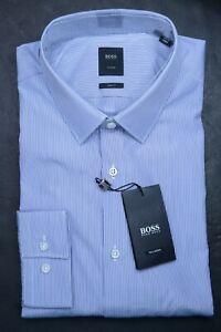 Hugo Boss Tailored $278 Men's Scott Slim Fit Striped Cotton Dress Shirt 44 17.5