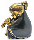 Lovely Vintage Original Suzanne Sabl Girl And Her Rabbit Bronze Sculpture