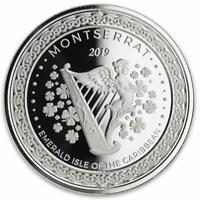 2019 1 oz Montserrat Emerald Isle Harp .999 Silver Coin Proof-like BU #A490