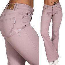 Niedrige Schlaghose Damen Jeans Hose Pferde Stickerei Nieten leichter Schlag