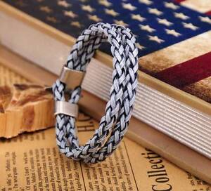 G25 Gray-Blue Surfer Double 6mm Braided PU Leather Bracelet Wristband Men's Cuff