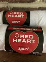 Lot 2 Skeins White 2.5 oz Sport Coats Clark Red Heart 3 ply yarn