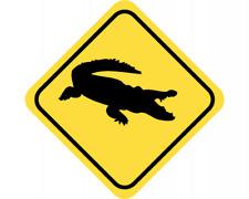 Krokodil Warnschild Warndreieck Aufkleber Achtung Vorsicht Tier