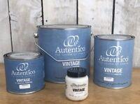 Autentico Vintage chalk Paint Whites&Neutrals, Free P&P,Tester,500ml 1L, 2.5l