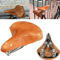 ☆Vintage Genuine Cowhide Leather Bicycle Cycling Saddle Seat Pad With Springs