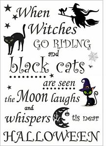 When witches go riding and black cats are seen .. Halloween sign, decorations