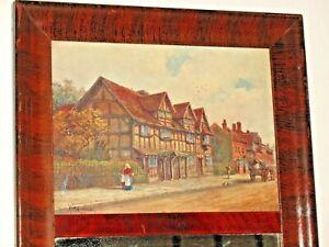 Fine Tremeau Dutch Print / Mirror In Mahogany Wood Grained Frame Original  L8