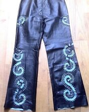 French 1970s Woman Bell Bottom Leather Pants -Hollow / Cut Out Design- New- W:34