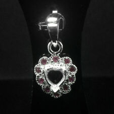 6x6mm.Heart Shape.Semi-Mount Pendant Silver Ruby Stone.