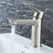 Keewi Single Hole Bathroom Faucet Brushed Nickel, Solid Brass Body Construction