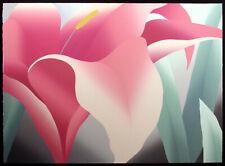 """Nancy Denison """"Pink Lily"""" Hand Signed Serigraph Fine Art 1983 large floral, OBO"""