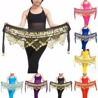 Professional Belly Dance Dancing Hip Scarf Costume Belt  skirt velvet Gold coin