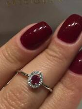 CLEARANCE 18CT WHITE GOLD OVAL HALO 0.33CT DIAMOND AND RUBY HALO RING LCL014