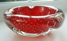 Vintage red & clear bullicante biomorphic glass bowl made in Murano.