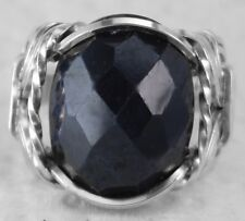 Natural Sapphire 10 carat Artisan Ring Sterling Silver mens / ladies