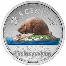 Canada 2016 Big Coins Series #4 Beaver Color 5 Cents 5 Oz Silver Nickel Proof