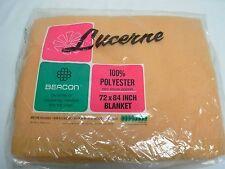 VINTAGE BEACON LUCERNE MUSTARD YELLOW SUPER SOFT POLYESTER BLANKET 72x84 MIP NOS