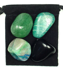 MUSCLE RELIEVER Tumbled Crystal Healing Set = 4 Stones + Pouch + Card