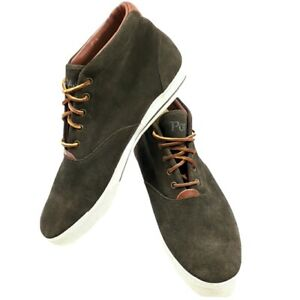 POLO Ralph Lauren ZALE Men's Size 13D High Top OILED SUEDE LEATHER Gray