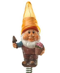 Solar Lighted Gnome w/ Yellow Hat Holding Flower Pot Wind Bouncer Garden Stake