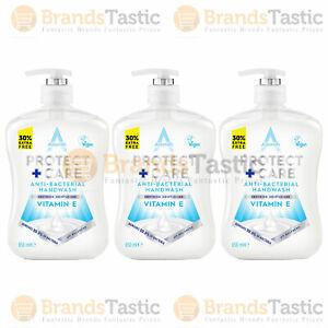 3 X ASTONISH PROTECT CARE ANTIBACTERIAL HANDWASH KILLS BACTERIA VITAMIN E 650ML