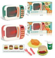 Childrens Toy Kitchen Microwave Oven & Food Realistic Role Play Lights & Sounds