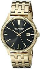 Bulova CARAVELLE Mens Gold Tone Stainless Steel Watch Black Dial 44B105