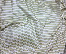 "Golden Beige & White Stripe Silk TAFFETA Fabric fat 1/4 18""x27"" remnant"