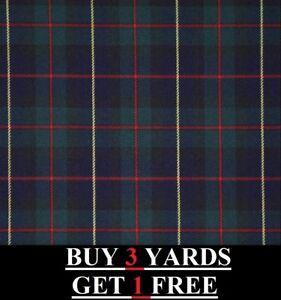Genuine Robertson Hunting Red Green Blue Tartan Plaid Poly-Viscose Dress Fabric