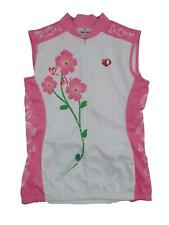 Pearl Izumi Women's Floral Cycling Bike Jersey Medium White Pink Sleeveless Zip