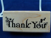 NEW INKADINKADO WOOD MOUNTED RUBBER STAMP THANK YOU 99265K 358