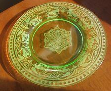 "CAMBRIDGE #704 w/ Windows ETCH Uranium Green Elegant Glass 8"" Plate Mult Avail"