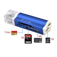 Kartenlesegerät Kartenleser Card Reader Micro SD MMC M2 USB Stick blau
