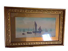LOVELY ANTIQUE GILT FRAMED WATERCOLOUR OF BARGES BY W. RUSSELL 61CMS X 40CMS