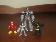 "DC Comics Imaginext 3"" Batman, Flash & Cyborg figures plus Cyborg 5"" Figure"